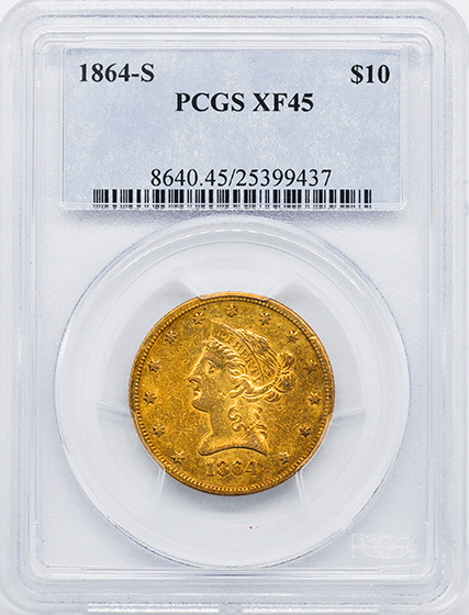 Picture of 1864-S LIBERTY HEAD $10 XF45