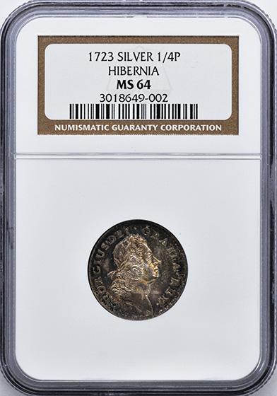Picture of 1723 HIBERNIA, SILVER P FARTH MS64