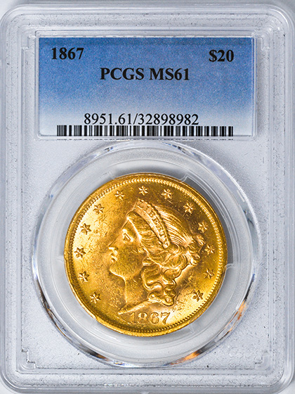 Picture of 1867 LIBERTY HEAD $20 MS61
