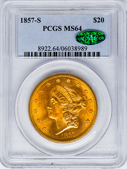 Picture of 1857-S LIBERTY HEAD $20 MS64