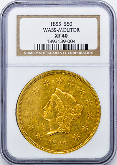 Picture of 1855 WASS, MOLITOR & CO $50, WASS, MOLITOR & CO. XF40