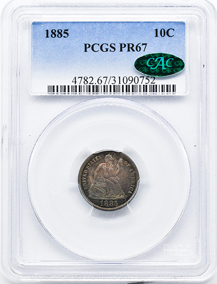 Picture of 1885 LIBERTY SEATED 10C PR67