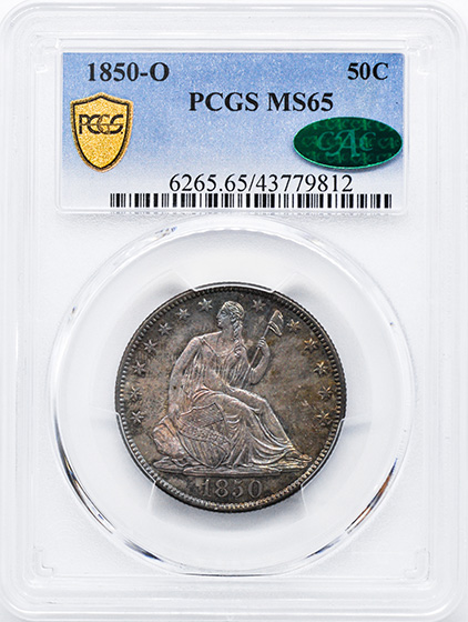 Picture of 1850-O LIBERTY SEATED 50C, NO MOTTO MS65