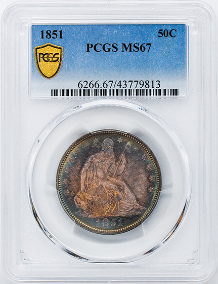 Picture of 1851 LIBERTY SEATED 50C, NO MOTTO MS67