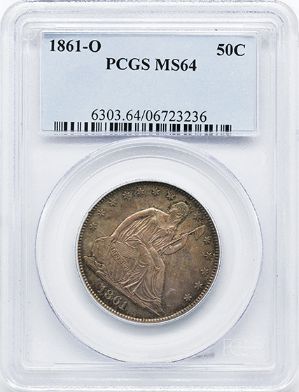 Picture of 1861-O LIBERTY SEATED 50C, NO MOTTO MS64