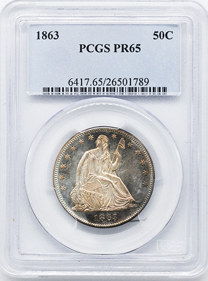 Picture of 1863 LIBERTY SEATED 50C PR65
