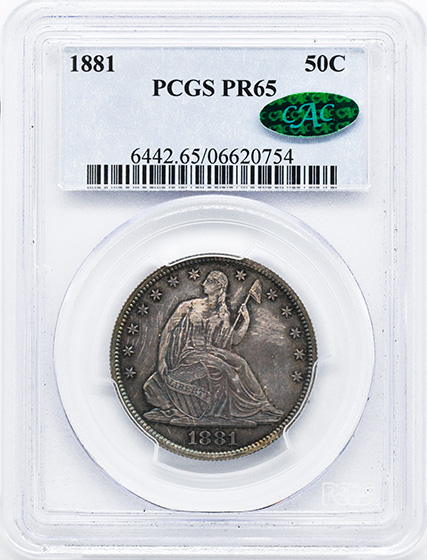 Picture of 1881 LIBERTY SEATED 50C PR65