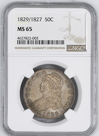 Picture of 1829/7 CAPPED BUST 50C MS65