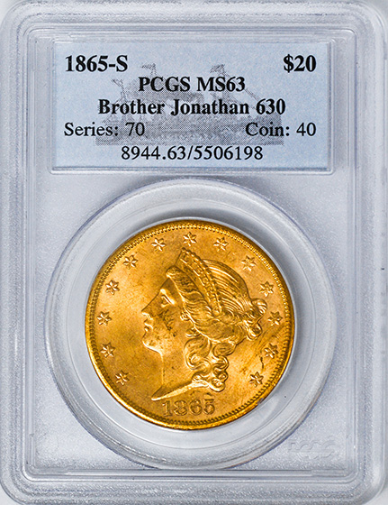 Picture of 1865-S LIBERTY HEAD $20 MS63