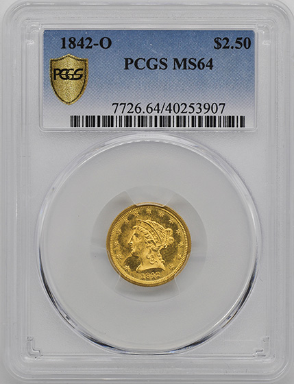 Picture of 1842-O LIBERTY HEAD $2.5 MS64