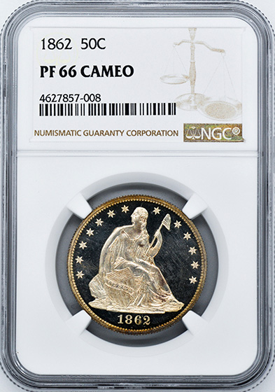 Picture of 1862 LIBERTY SEATED 50C PR66 Cameo
