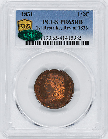 Picture of 1831 CLASSIC HEAD 1/2C, REVERSE OF 1836 PR65 Red Brown