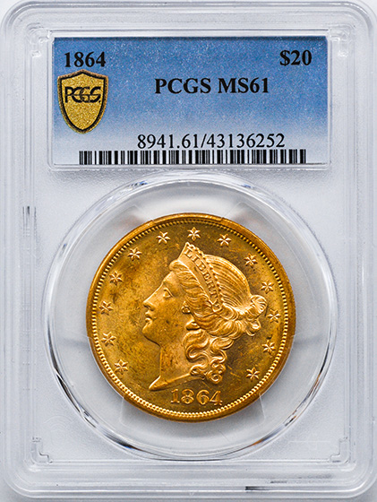 Picture of 1864 LIBERTY HEAD $20 MS61