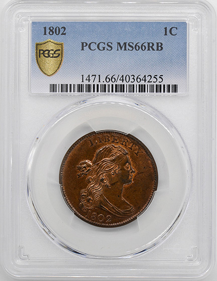 Picture of 1802 DRAPED BUST 1C MS66 Red Brown
