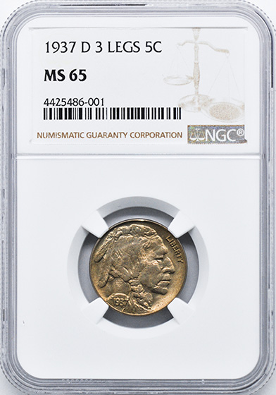 Picture of 1937-D BUFFALO 5C, 3 LEGS MS65