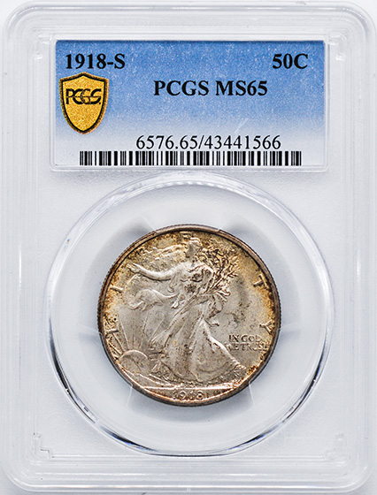 Picture of 1918-S WALKING LIBERTY 50C MS65