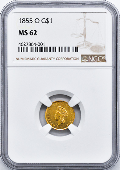 Picture of 1855-O GOLD G$1, TYPE 2 MS62